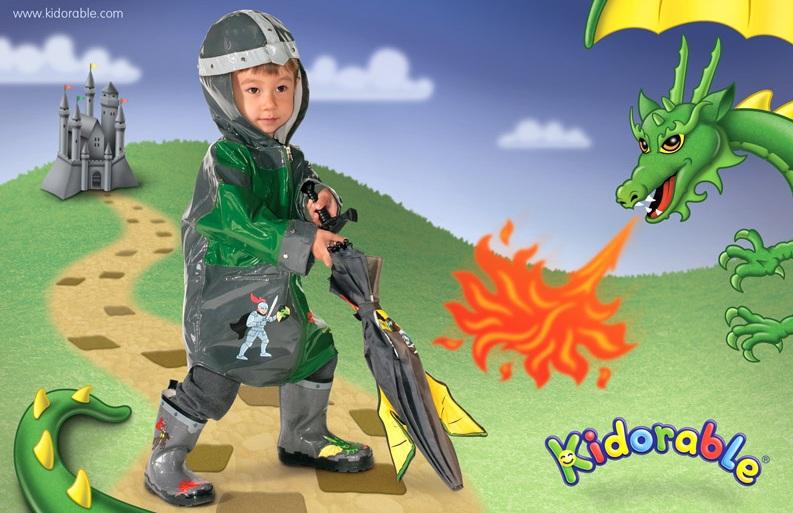 Kidorable raincoat knight